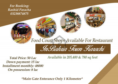 Food court shop available in shopping mall for restaurant