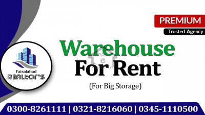 40000 Sq ft Covered Warehouse Available for Rent at Jhang Road